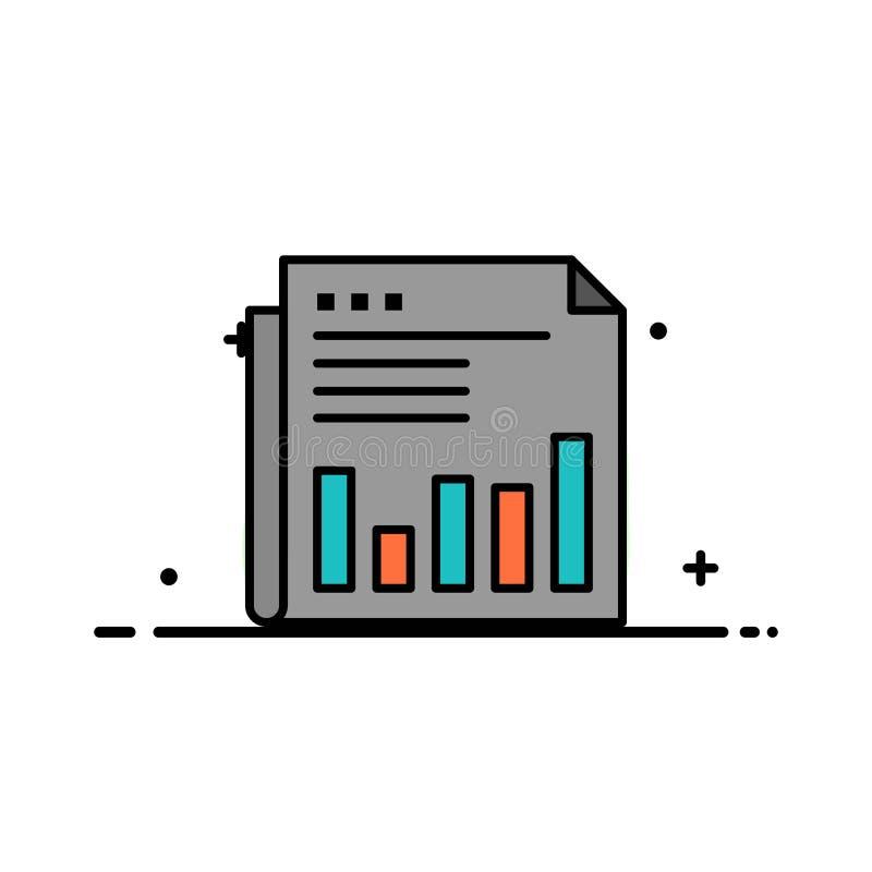 Krant, Financiële Zaken, Markt, Nieuws, Document, Malplaatje Tijden van de Bedrijfs het Vlakke Lijn Gevulde Pictogram Vectorbanne royalty-vrije illustratie