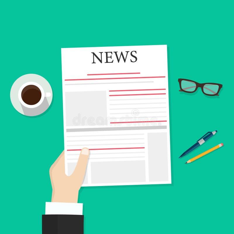 Krant in handenillustratie, vlak de lezingsnieuws van de beeldverhaalpersoon in krant terwijl koffiepauze hoogste mening, dagelij stock illustratie