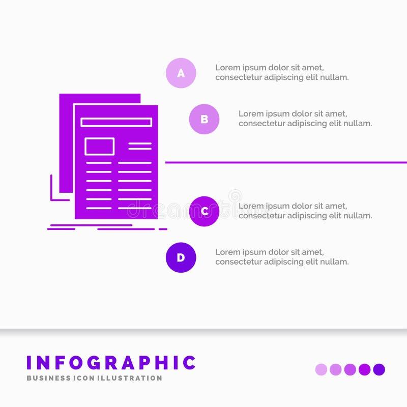 Krant, media, nieuws, bulletin, het Malplaatje van kranteninfographics voor Website en Presentatie Infographic GLyph Purper picto stock illustratie