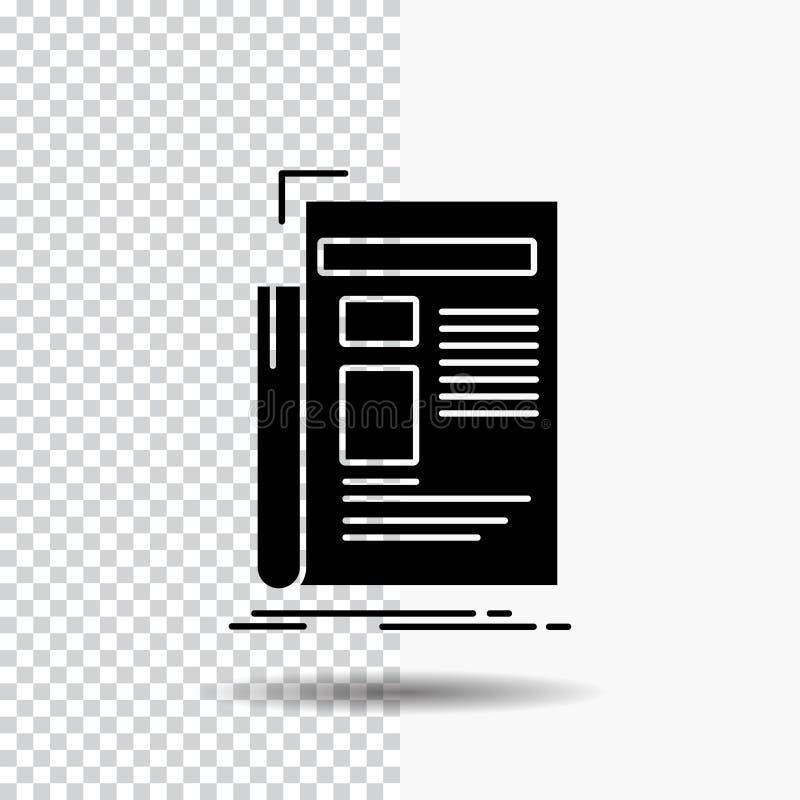 Krant, media, nieuws, bulletin, het Pictogram van krantenglyph op Transparante Achtergrond Zwart pictogram vector illustratie