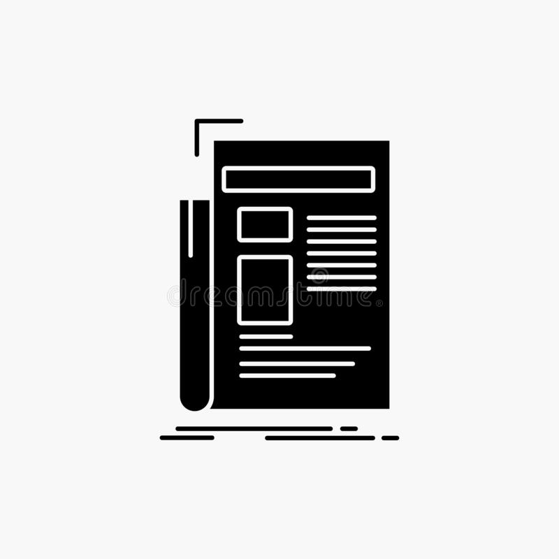 Krant, media, nieuws, bulletin, het Pictogram van krantenglyph Vector ge?soleerde illustratie vector illustratie