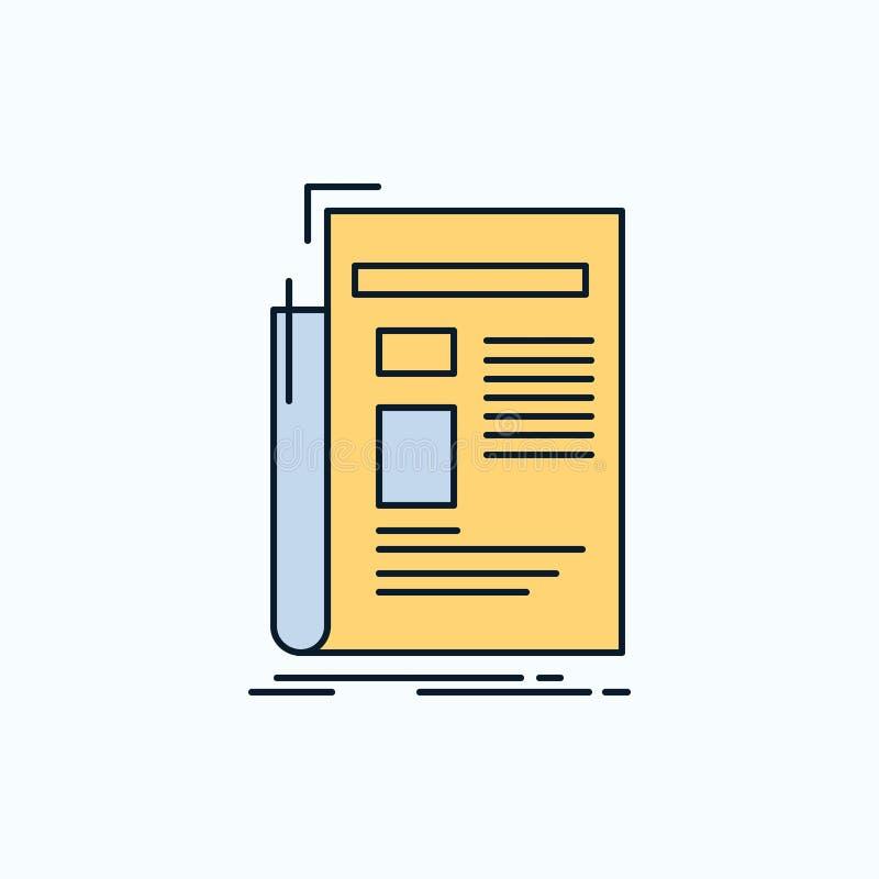 Krant, media, nieuws, bulletin, kranten Vlak Pictogram groene en Gele teken en symbolen voor website en Mobiele appliation Vector stock illustratie
