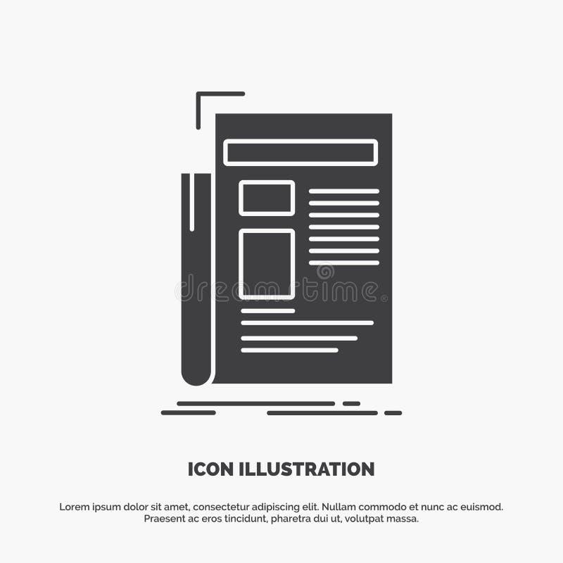 Krant, media, nieuws, bulletin, krantenpictogram glyph vector grijs symbool voor UI en UX, website of mobiele toepassing royalty-vrije illustratie