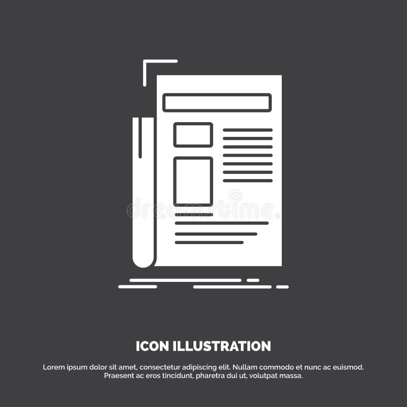 Krant, media, nieuws, bulletin, krantenpictogram glyph vectorsymbool voor UI en UX, website of mobiele toepassing stock illustratie