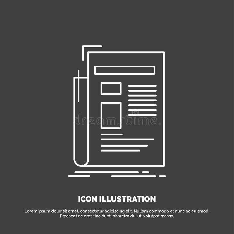 Krant, media, nieuws, bulletin, krantenpictogram Lijn vectorsymbool voor UI en UX, website of mobiele toepassing royalty-vrije illustratie