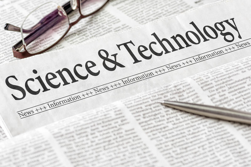 Krant met de de krantekopwetenschap en Technologie royalty-vrije stock fotografie