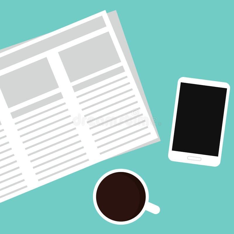 Krant, mobiele telefoon en koffie stock illustratie