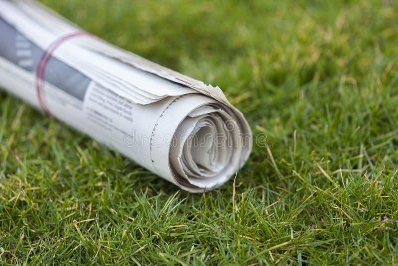 Krant op groene gras in openlucht achtergrond royalty-vrije stock foto's