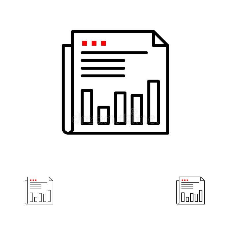 Krant, Zaken, Financieel, Markt, Nieuws, Document, het pictogramreeks van de Tijden Gewaagde en dunne zwarte lijn stock illustratie