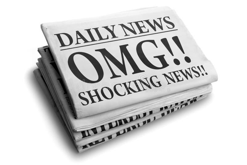 Krantekop van de het nieuws dagelijkse krant van OMG de stuitende royalty-vrije stock foto