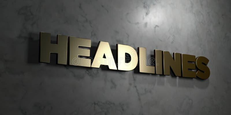 Krantekoppen - Gouden teken opgezet op glanzende marmeren muur - 3D teruggegeven royalty vrije voorraadillustratie royalty-vrije illustratie