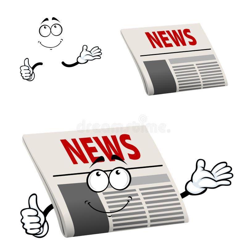 Krantenkarakter met nieuwskrantekop stock illustratie
