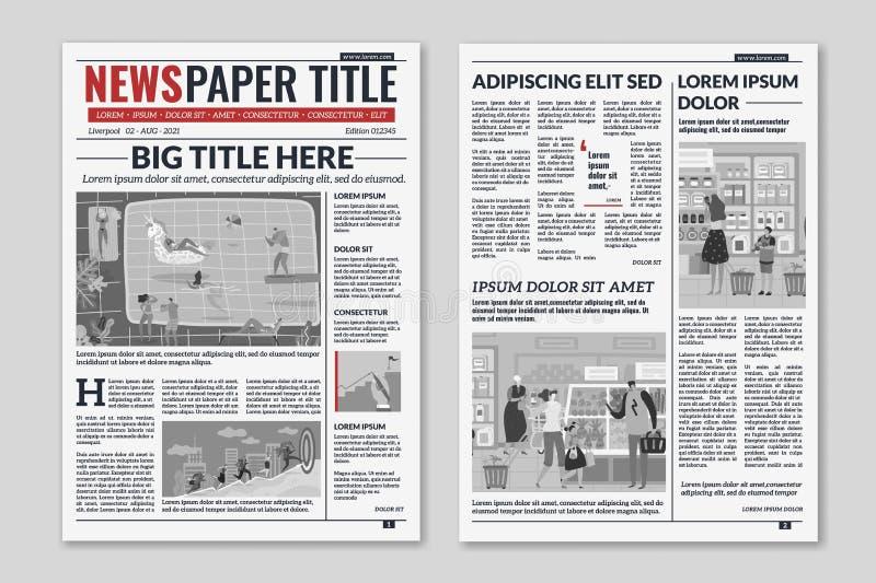 Krantenlay-out Van het de artikelenkrantenpapier van de nieuwskolom het tijdschriftontwerp De bladen van de brochurekrant Redacti royalty-vrije illustratie