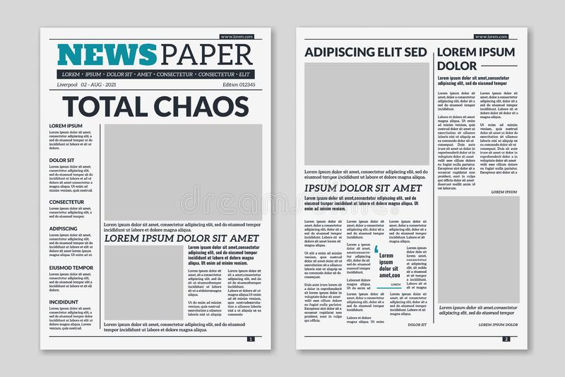 Krantenmalplaatje Kolomartikelen op krantenpapierachtergrond Gedrukte document krantenbladen met krantekop Vector stock illustratie