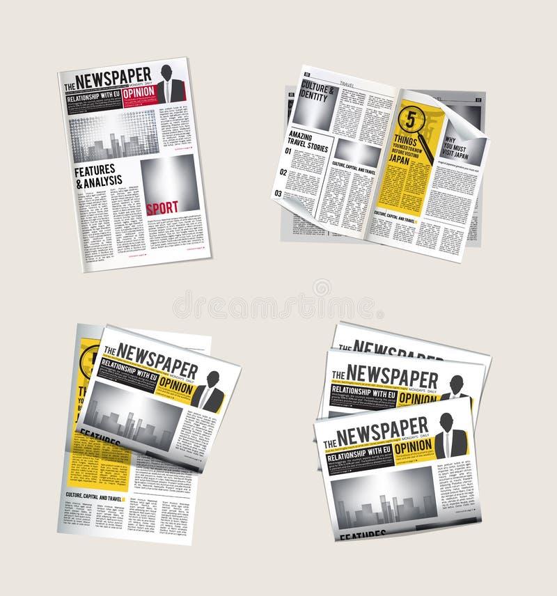 Krantenpictogrammen Journalistinzameling van het lezen van dagelijks nieuws met de vectorsymbolen van krantekoppentabloid van kra vector illustratie