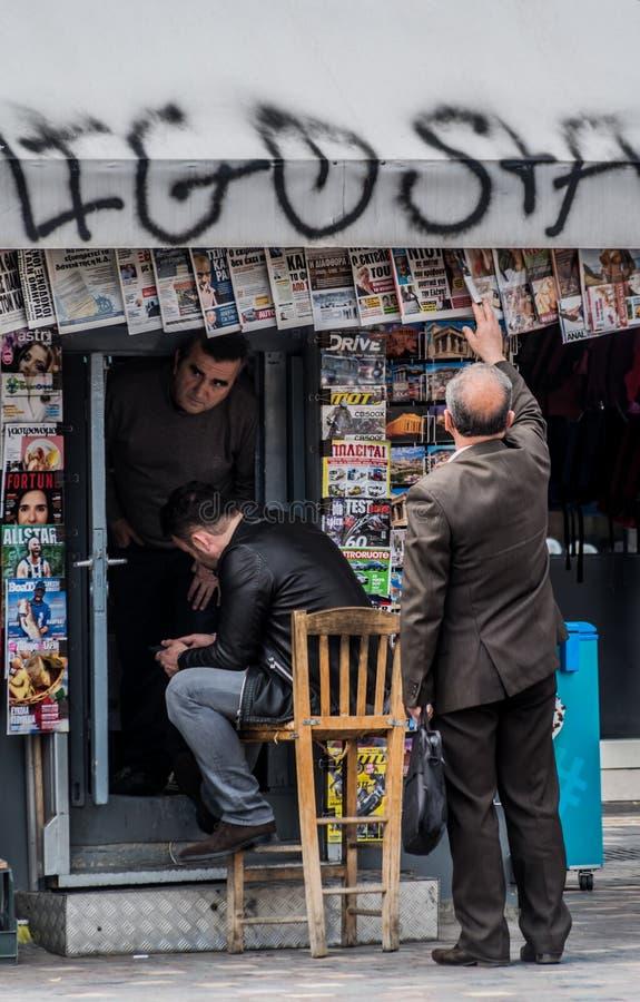 Krantentribune, Monastiraki, Atyhens, Griekenland royalty-vrije stock foto