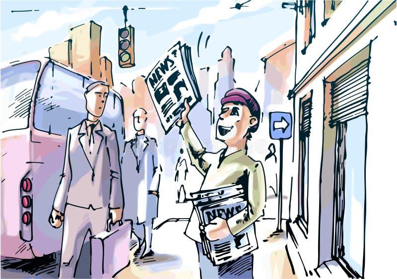 Krantenverkoper royalty-vrije illustratie