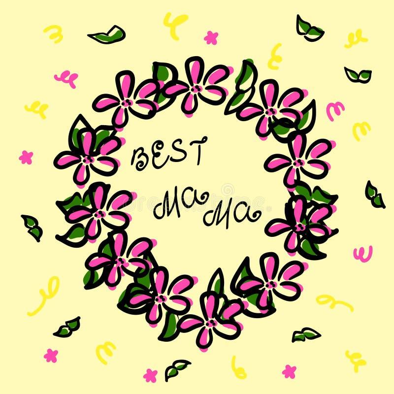 Kranz in der Skizzenart Schwarze Kontur und rosa Farbe Grüne Niederlassungen, Konfettis und die beste Mutter der Aufschrift Vekto lizenzfreie abbildung