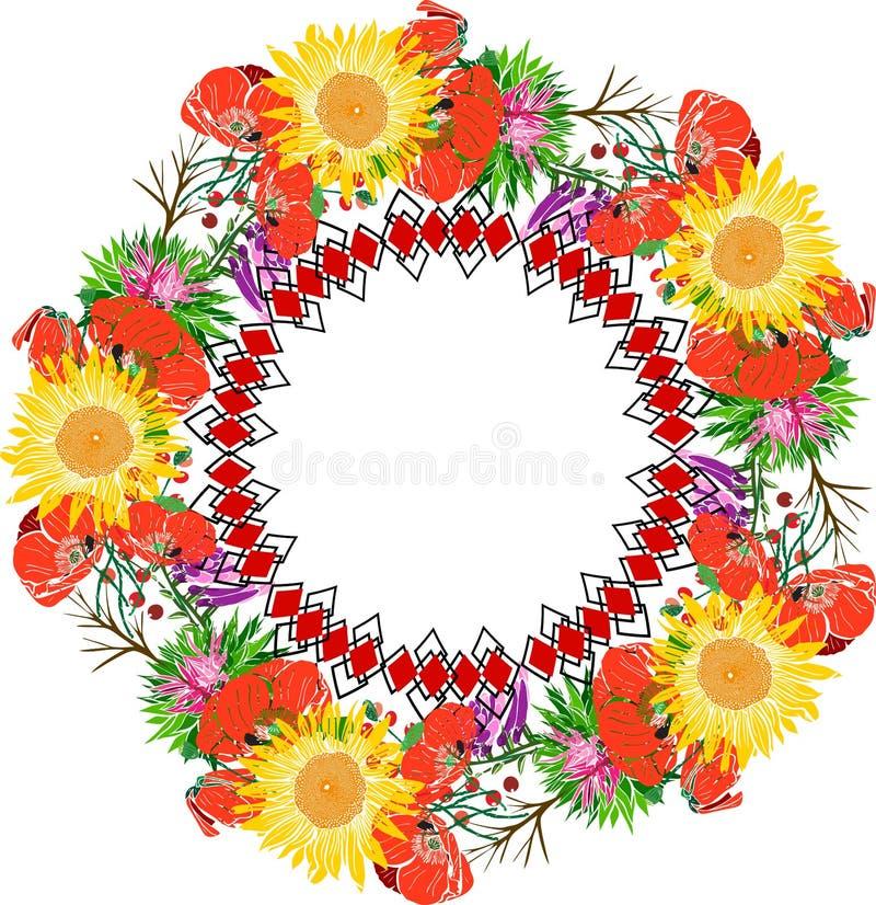 Kranz der Sonnenblume und der roten blühenden Mohnblumen lizenzfreie abbildung