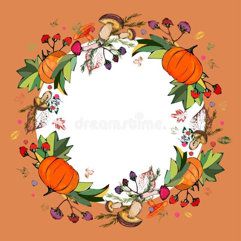 Kranz des Herbstlaubs Drucke von Blättern von verschiedenen Farben Stilvoller Herbstkranz von Blättern, Pilze, Beeren, Kürbise lizenzfreie abbildung