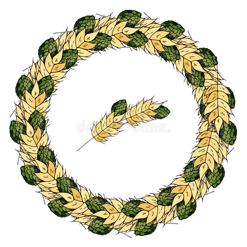 Kranz des Weizens und der Hopfen auf einem weißen Hintergrund lizenzfreie abbildung