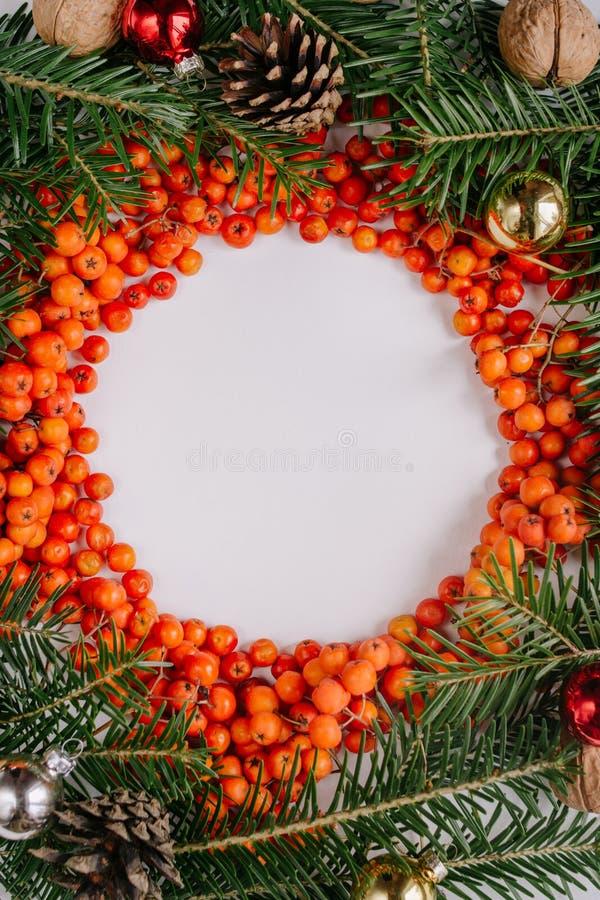 Kranz gemacht von den Weihnachtsbaumasten, Stöße, rote Beeren und auf weißem Hintergrund lizenzfreies stockfoto