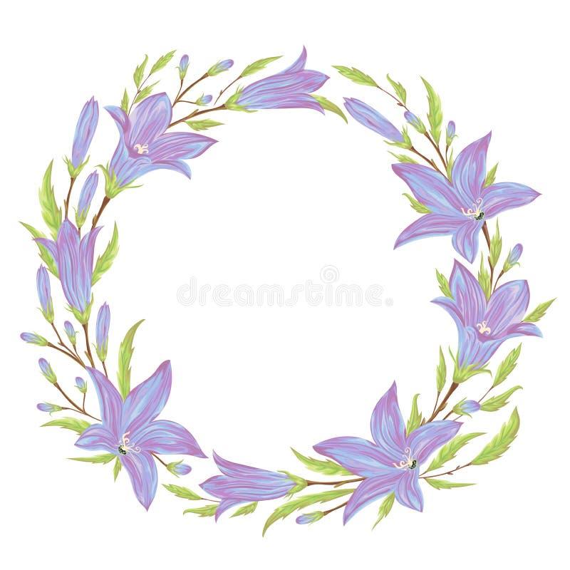 Kranz mit blauen Glockenblumeblumen Sammlungsblumenmusterelemente für Heiratseinladungen und Glückwunschkarten stock abbildung