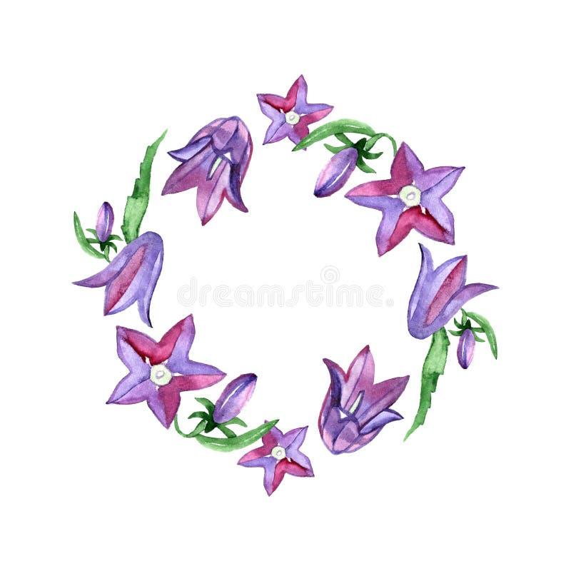 Kranz mit blauen Glockenblumeblumen Sammlungsblumenmusterelemente für Heiratseinladungen und Glückwunschkarten lizenzfreie abbildung