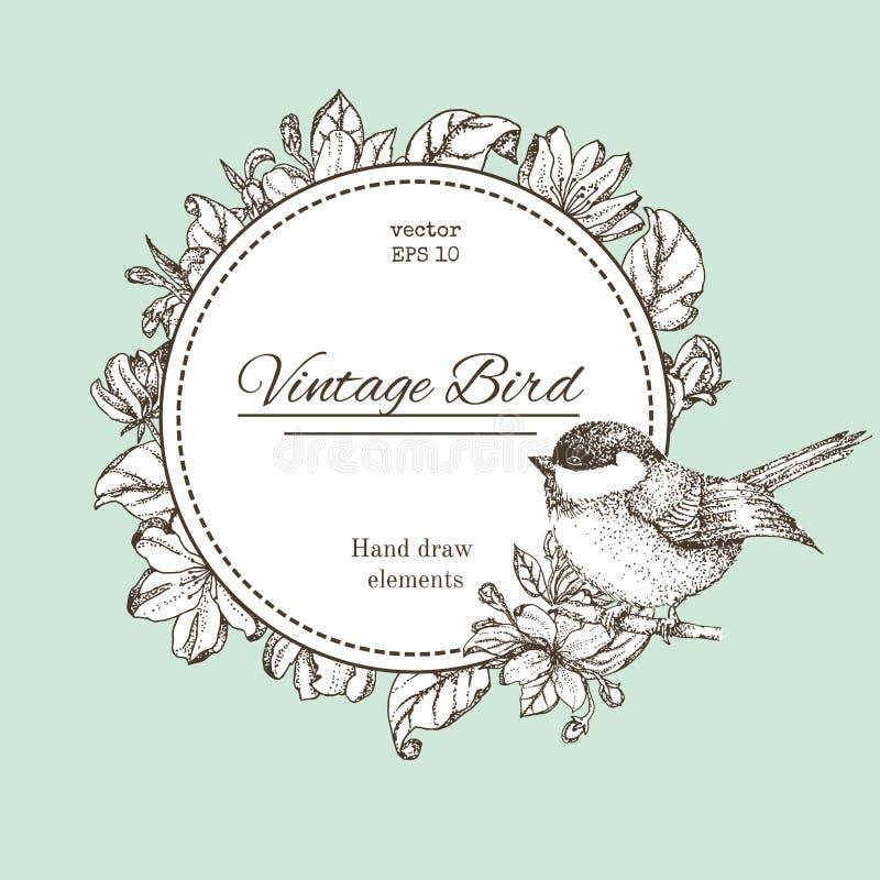 Kranz mit Blumen und Vogel Vector runden Rahmen der Weinlese mit Vögeln und Blumen Er kann für die Verzierung von Hochzeitseinlad lizenzfreie abbildung