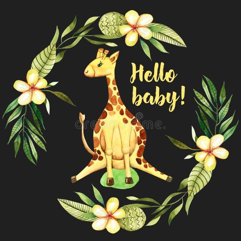 Kranz mit netter Giraffe des Aquarells, Blumen und Florenelementen, Babypartykartenentwurf stockbilder