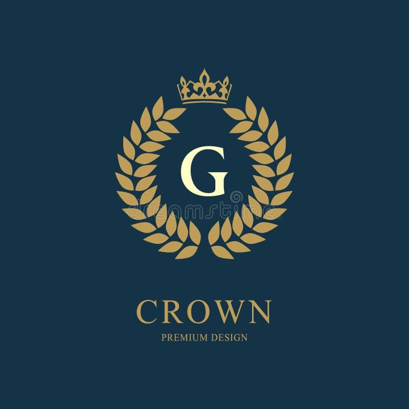 Kranz-Monogrammluxusdesign, würdevolle Schablone Elegantes schönes rundes mit Blumenlogo mit Krone Buchstabeemblemzeichen G für A lizenzfreie abbildung