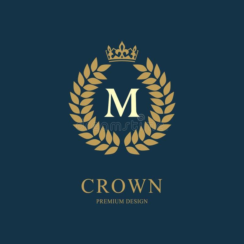 Kranz-Monogrammluxusdesign, würdevolle Schablone Elegantes schönes rundes mit Blumenlogo mit Krone Buchstabeemblemzeichen M für A lizenzfreie abbildung