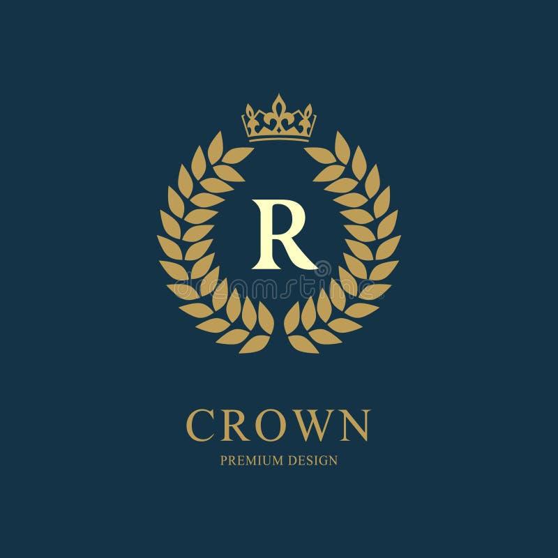 Kranz-Monogrammluxusdesign, würdevolle Schablone Elegantes schönes rundes mit Blumenlogo mit Krone Buchstabeemblemzeichen R für A stock abbildung