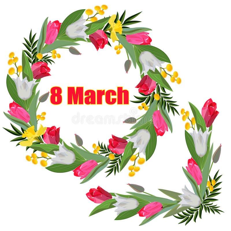 Kranz und Girlande von den weißen und rosa Tulpen, von Narzissen und von Mimose mit dem Aufschrift am 8. März lokalisiert auf ein vektor abbildung