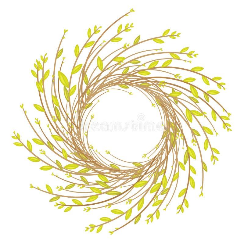 Kranz von den jungen Weidenniederlassungen Die Zusammensetzung verziert das Haus Symbol von Ostern und von Frühling Auch im corel vektor abbildung