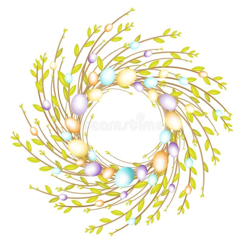 Kranz von den jungen Weidenniederlassungen Die Zusammensetzung wird mit schönen Ostereiern verziert Das Symbol des Fr?hlinges und vektor abbildung