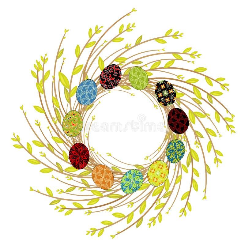 Kranz von den jungen Weidenniederlassungen Die Zusammensetzung wird mit sch?nen Ostereiern verziert Das Symbol des Fr?hlinges und stock abbildung