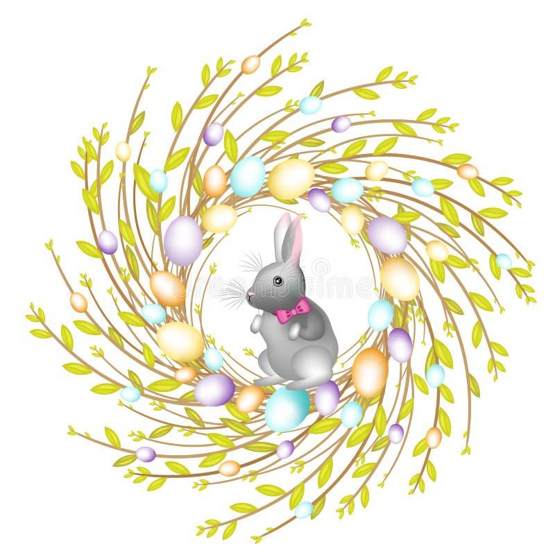 Kranz von den jungen Weidenniederlassungen Die Zusammensetzung wird mit sch?nen Ostereiern verziert Ist nach innen ein Kaninchen  lizenzfreie abbildung