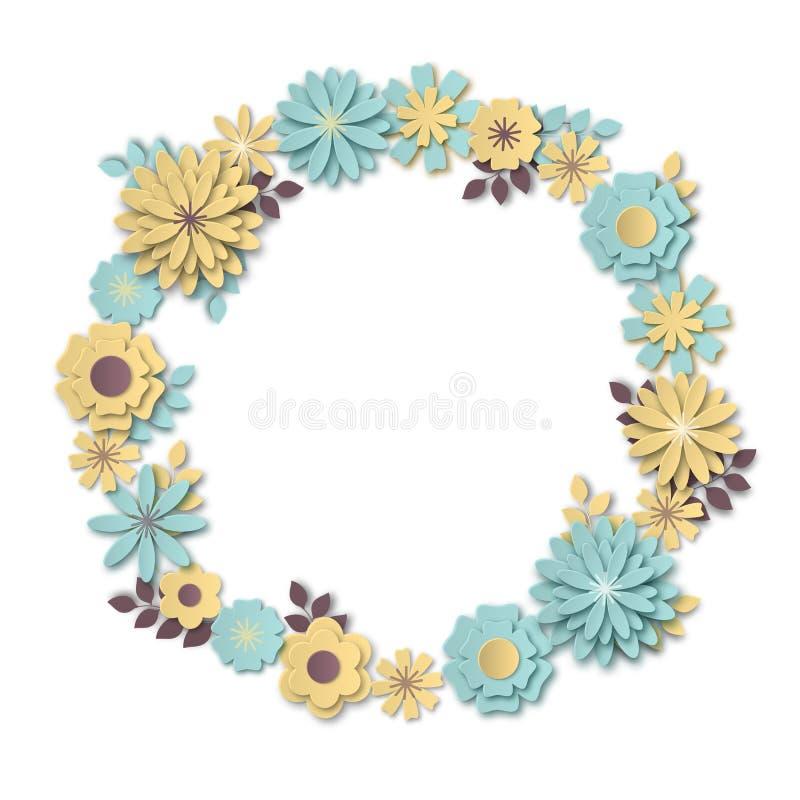 Kranz von empfindlichen blauen und gelben Pastellblumen im Stil der Papierkunst stock abbildung
