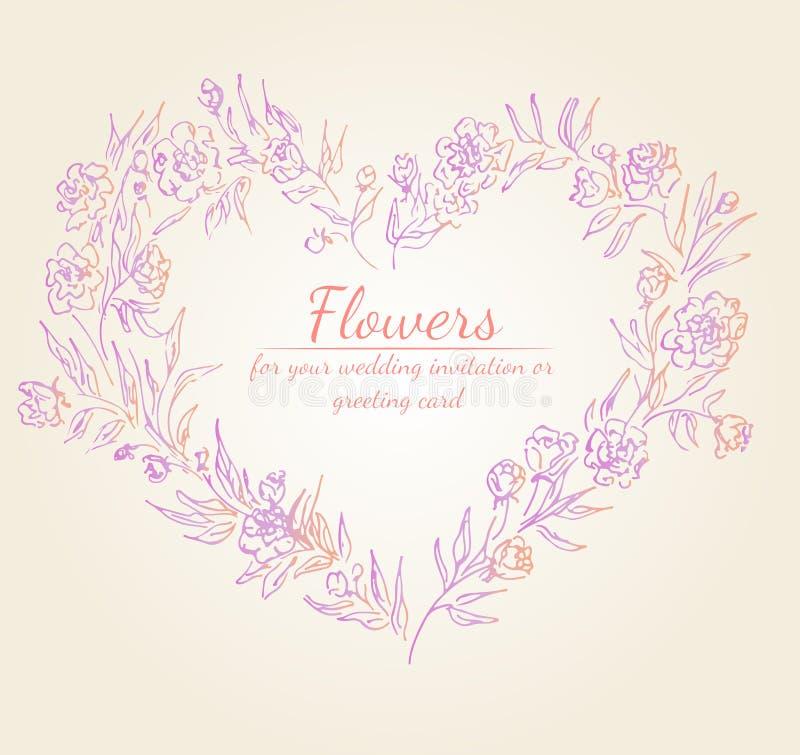 Kranz von Rosen- oder Pfingstrosenblumenniederlassungen mit den Rosa-, Purpurroten und korallenrotenfarben Blumenrahmengestaltung vektor abbildung