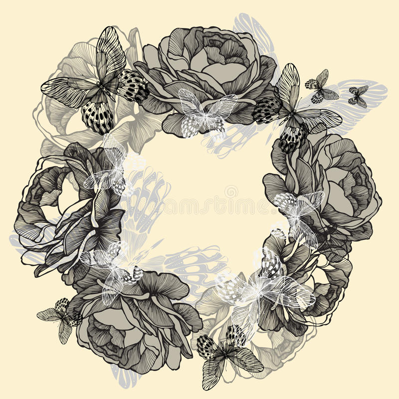 Kranz von Rosen, Schmetterlinge, Handzeichnung. Vektor lizenzfreie abbildung