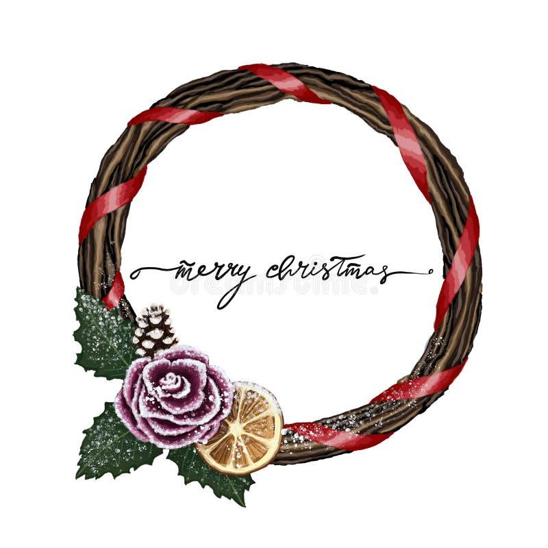 Kranzillustration der frohen Weihnachten des Winters mit festlichem Feiertagskranz, Beschriftung der frohen Weihnachten in der Mi vektor abbildung