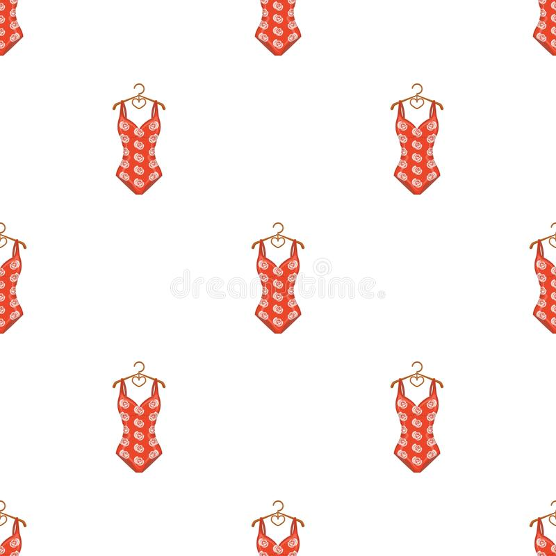 Krascha den röda baddräkten med ett tryck av rosor Strandkläder Swimcuits enkel symbol i materiel för symbol för tecknad filmstil stock illustrationer