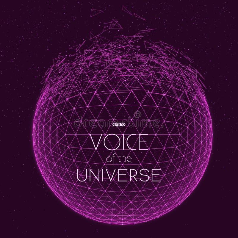 Krascha den violetta utrymmesfären Abstrakt vektorbakgrund med mycket små stjärnor Glöd av solen från botten royaltyfri illustrationer