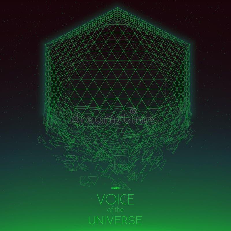 Krascha grönt objekt för utrymme Abstrakt vektorbakgrund med mycket små stjärnor Glöd av solen från botten royaltyfri illustrationer