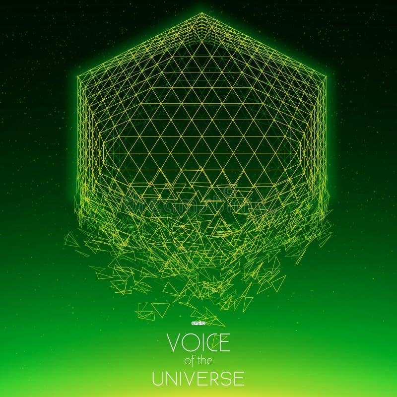 Krascha grönt objekt för utrymme Abstrakt vektorbakgrund med mycket små stjärnor Glöd av solen från botten stock illustrationer