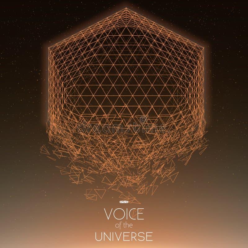 Krascha orange objekt för utrymme Abstrakt vektorbakgrund med mycket små stjärnor Glöd av solen från botten stock illustrationer