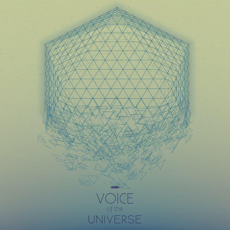 Krascha utrymmeblåttobjekt Abstrakt vektorbakgrund med mycket små stjärnor Glöd av solen från botten stock illustrationer