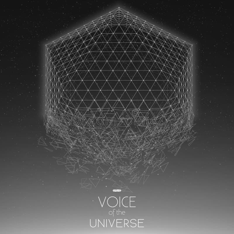 Krascha utrymmegråtonobjekt Abstrakt vektorbakgrund med mycket små stjärnor Glöd av solen från botten vektor illustrationer
