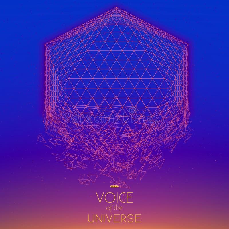 Krascha violett objekt för utrymme Abstrakt vektorbakgrund med mycket små stjärnor Glöd av solen från botten royaltyfri illustrationer